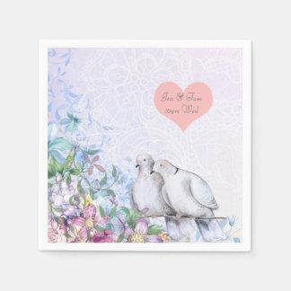 Bohemian LoveBirds Watercolor wedding personalized Napkin