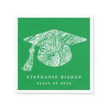 Bohemian Mandala Pattern Graduation Hat Green Paper Napkin