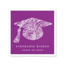 Bohemian Mandala Pattern Graduation Hat Purple Napkin