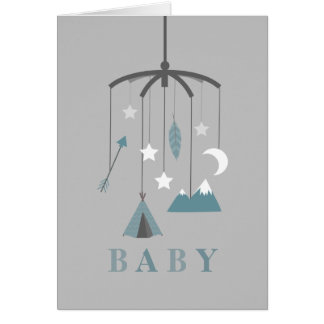 Bohemian Mobile Baby Shower - Blue Card