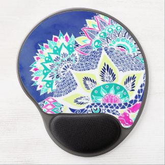 Bohemian navy floral mandala paisley watercolor gel mouse pad