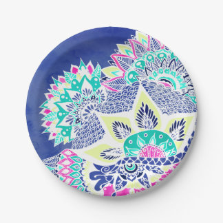 Bohemian navy floral mandala paisley watercolor paper plate