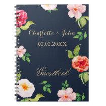 bohemian navy gold modern floral wedding Guestbook Notebook