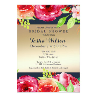bohemian navy gold modern Shower Invite