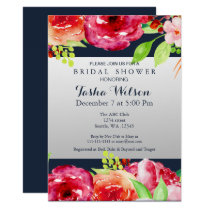 bohemian navy silver floral modern Shower Invite