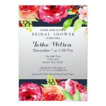 bohemian navy silver floral modern Shower Invite