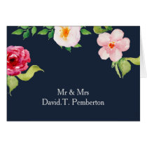 bohemian navy silver floral Place Cards