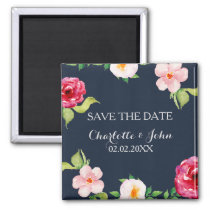 bohemian navy silver floral save the Date Magnet