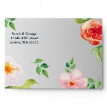 bohemian navy silver floral wedding envelope