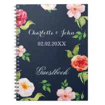 bohemian navy silver floral wedding Guestbook Spiral Notebook