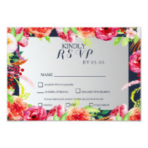 bohemian navy silver floral wedding RSVP card