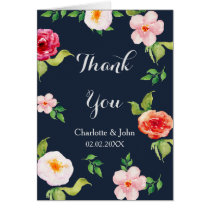 bohemian navy silver floral wedding Thank You Card