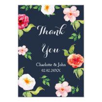 bohemian navy silver floral wedding Thank You Card