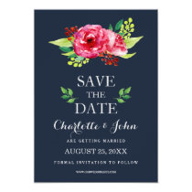 bohemian navy silver modern floral save the dates card
