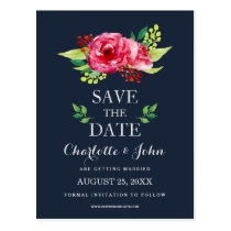 bohemian navy silver modern floral save the dates postcard