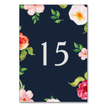 bohemian navy silver modern floral table number card