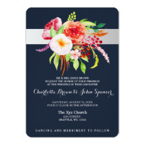 bohemian navy silver modern floral wedding invites