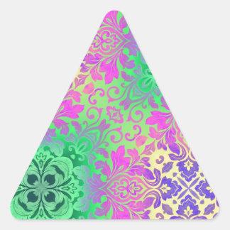 bohemian neon green Fuschia damask pattern Triangle Sticker