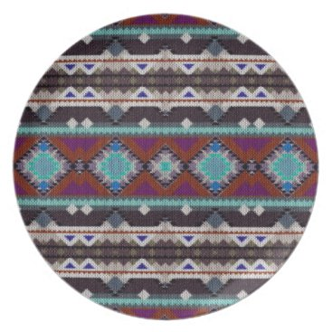 Aztec Themed Bohemian ornament in ethno-style, Aztec Melamine Plate