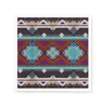Aztec Themed Bohemian ornament in ethno-style, Aztec Paper Napkin