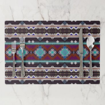 Aztec Themed Bohemian ornament in ethno-style, Aztec Placemat