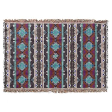 Aztec Themed Bohemian ornament in ethno-style, Aztec Throw Blanket