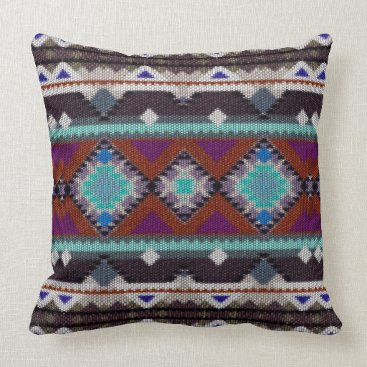Aztec Themed Bohemian ornament in ethno-style, Aztec Throw Pillow