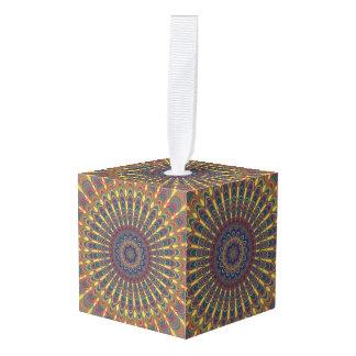 Bohemian oval mandala cube ornament