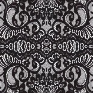 Bohemian Parisian Floral Victorian Black Lace Shower Curtain