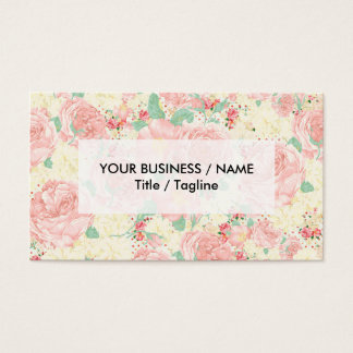 bohemian pastel blush pink vintage rustic flowers business card