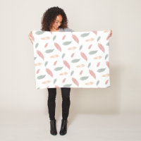 Bohemian Pastel Feathers Pattern Fleece Blanket