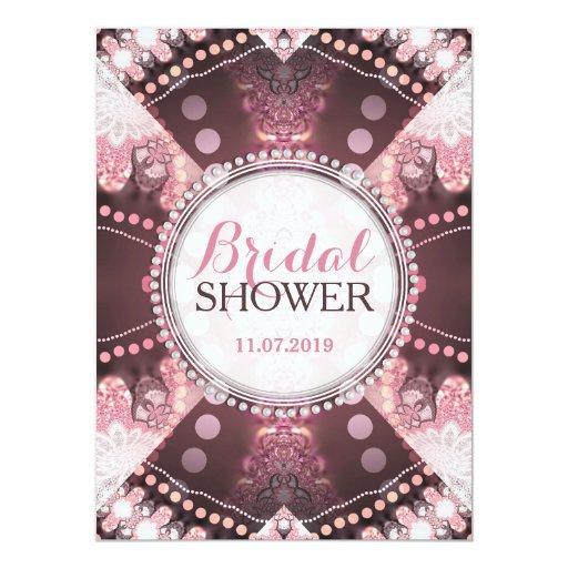 Bohemian Patchwork Pink Bridal Shower Invites