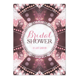 "Bohemian Patchwork Pink Bridal Shower Invites 5.5"" X 7.5"" Invitation Card"
