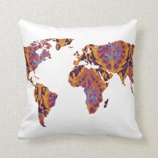 Bohemian Patterned World Map Statement Pillow