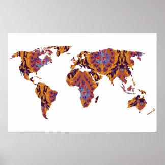 Bohemian Patterned World Map   Traveler   Poster