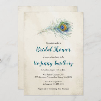 Bohemian Peacock Feather Teal Bridal Shower Invitation