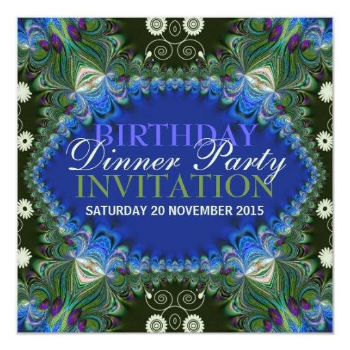 Bohemian Peacock lacy decor Birthday Dinner Party Card