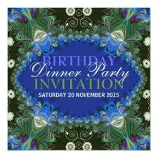 Bohemian Peacock lacy decor Birthday Dinner Party Invitation