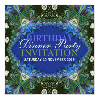 Bohemian Peacock lacy decor Birthday Dinner Party 5.25x5.25 Square Paper Invitation Card