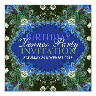 Bohemian Peacock lacy decor Birthday Dinner Party Custom Invitations