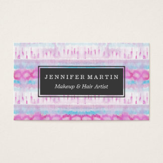Bohemian Pink and Blue Abstract Tie Dye Pattern Business Card