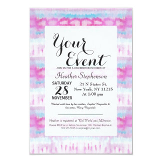 Bohemian Pink and Blue Abstract Tie Dye Pattern Card