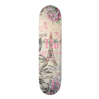 Bohemian pink black floral Paris Eiffel Tower typo Skateboard