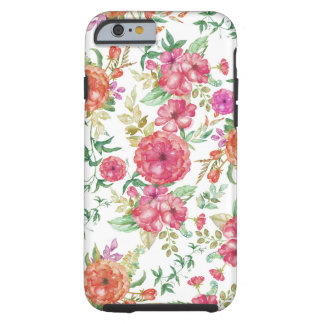Bohemian pink coral green watercolor roses flowers tough iPhone 6 case