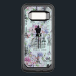 "Bohemian pink floral stripes paris mannequin OtterBox commuter samsung galaxy s8 case<br><div class=""desc"">A bohemian pink floral stripes paris mannequin.A vintage stripes and black Paris Eiffel Tower french icon with vintage mannequin and pink lavender floral collage on pastel blue and white stripes background.</div>"