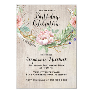 Bohemian Pink Flowers and Feathers Birthday Card