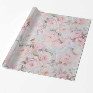 Bohemian pink teal vintage floral pattern wrapping paper