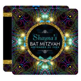 Bohemian Princess Pretty Lights Bat Mitzvah Invitation