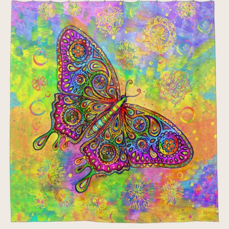 Bohemian Rainbow Butterfly Shower Curtain
