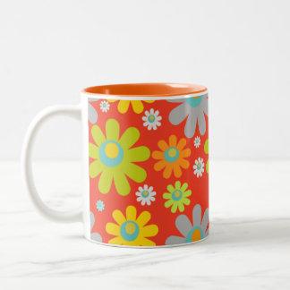 Bohemian Retro Daisies on Red/Orange 11 oz Two-Tone Coffee Mug